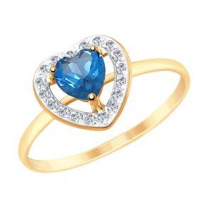 Кольцо из золота с синим топазом и фианитами 715156 SOKOLOV