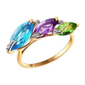 Кольцо из золота с миксом камней 713285  SOKOLOV
