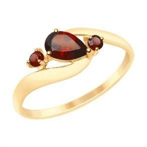 Кольцо из золота с гранатами 715082 SOKOLOV