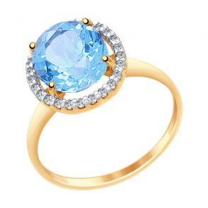 Кольцо из золота с топазом и фианитами 714967 SOKOLOV