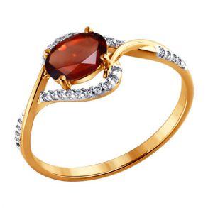 Кольцо из золота с гранатом и фианитами 713838 SOKOLOV