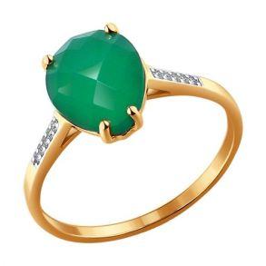 Кольцо из золота с фианитами и зелёным агатом 714045  SOKOLOV