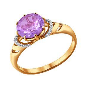 Кольцо из золота с аметистом и фианитами 714014 SOKOLOV