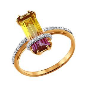 Золотое кольцо с ситаллом и фианитами 713932 SOKOLOV