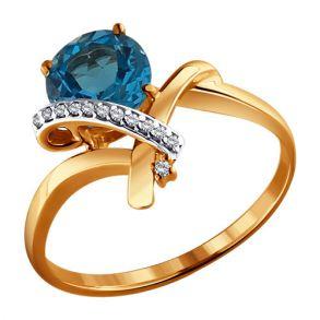 Кольцо из золота с топазом и фианитами 713913 SOKOLOV