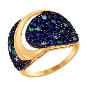 Кольцо из золота с зелеными, синими и голубыми фианитами 017067 SOKOLOV