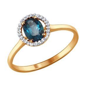 Кольцо из золота с топазом и фианитами 714112 SOKOLOV