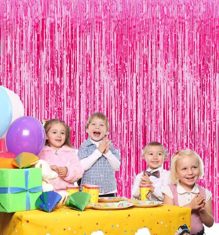 Новогодний Дождик Штора, 2 М Х 1 М, Цвет Розовый