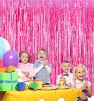 Новогодний дождик Штора, 2 м х 1 м, цвет розовый (1)