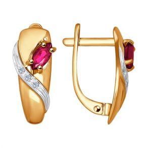Серьги из золота с бриллиантами и рубинами 4020381№1 SOKOLOV