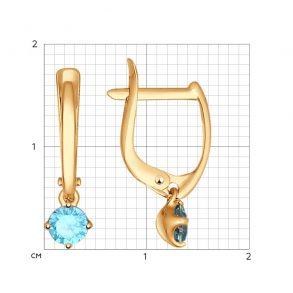 Серьги из золота с голубыми фианитами 027398 SOKOLOV