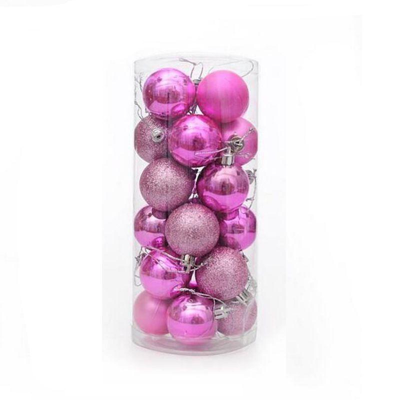 Набор украшений для елки Шары 5.5 см, 24 шт, цвет розовый