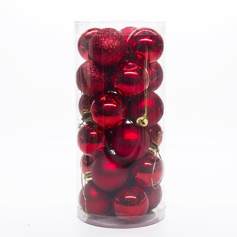 Набор украшений для елки Шары 7.5 см, 24 шт, цвет красный