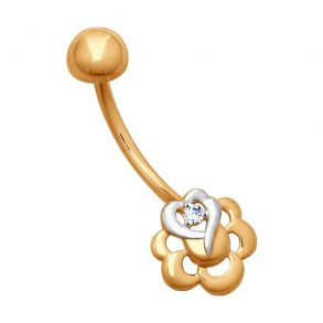 Пирсинг из золота с фианитом 060211 SOKOLOV