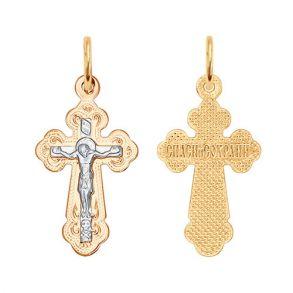 Крест из комбинированного золота с гравировкой 121137 SOKOLOV