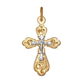 Крест из комбинированного золота с гравировкой 121217 SOKOLOV