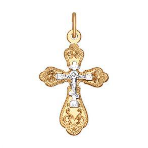 Крест из комбинированного золота с гравировкой 121218 SOKOLOV