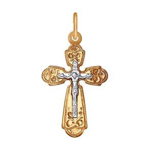 Крест из комбинированного золота 121237 SOKOLOV