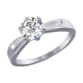 Помолвочное кольцо из белого золота со Swarovski Zirconia 81010253 SOKOLOV