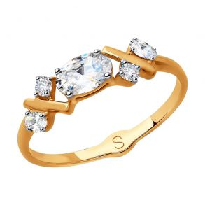 Кольцо из золота со Swarovski Zirconia 81010405 SOKOLOV