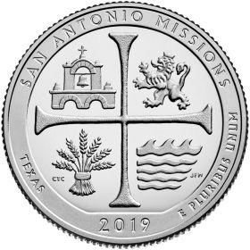 Национальный исторический парк миссий Сан-Антонио (Техас) 25 центов США 2019 Двор на выбор