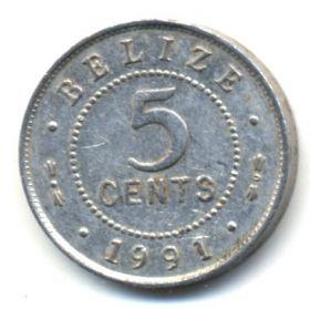 Белиз 5 центов 1991