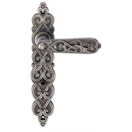 Ручка Дверная На Планке Archie, Arabesco Bl. Silver (Ps), Черненое СереброПроходная