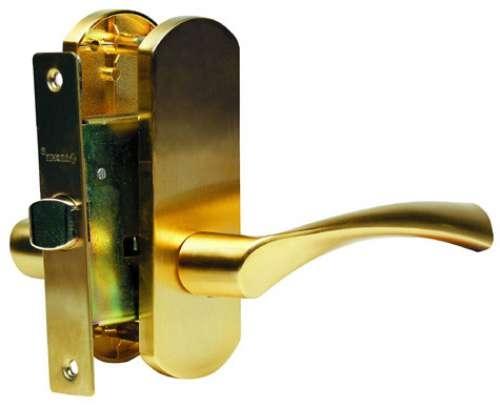 Ручка Дверная Фалевая На Овальной Накладке C Замочным Механизмом, Archie, Матовое Золото (Защелка)