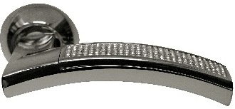 Ручка Дверная Фалевая На Круглой Накладке, Archie, Sillur 132 P.Chrome-Crystal., Хром/ Кристаллы