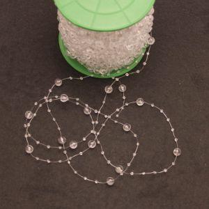 Бусины на леске, диаметр бусин 3/8мм, длина 60м, цвет прозрачный