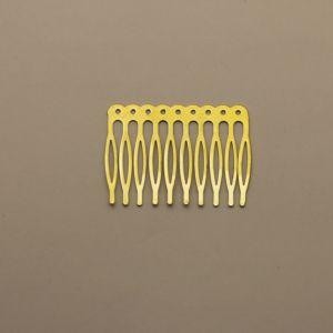 Гребень для волос, металл, размер 68*41, цвет: белое золото (1уп = 24шт)