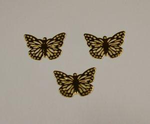"""Декоративный элемент """"филигрань"""" бабочка 20х29 мм, цвет золото (1уп = 50шт)"""