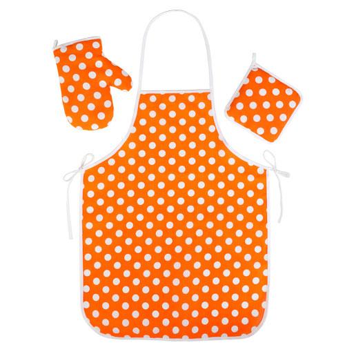 """Набор для кухни """"Ассорти-Горошек оранжевый"""" (3 предмета)"""