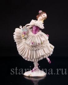Танцующая девушка, кружевная, Volkstedt, Германия, сер. 20 в.