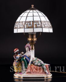 Лампа, Одалиска и арапчонок с попугаем, Muller & Co, Volkstedt, Германия, нач. 20 в.