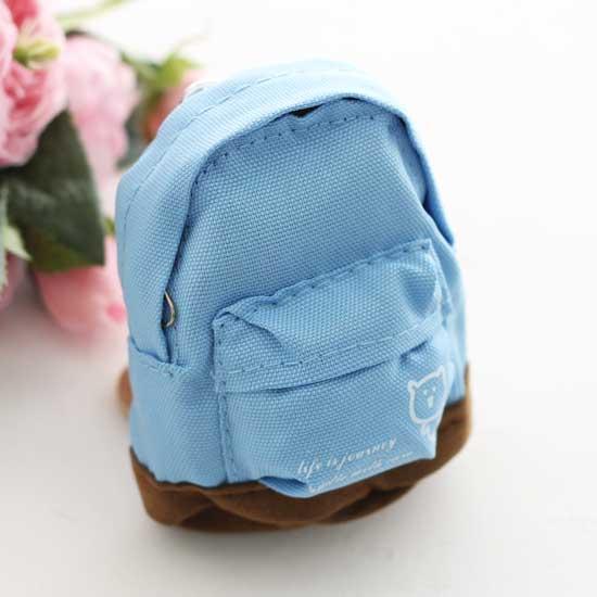 Кукольный аксессуар - Рюкзак для куклы тканевый Синий, 12 см