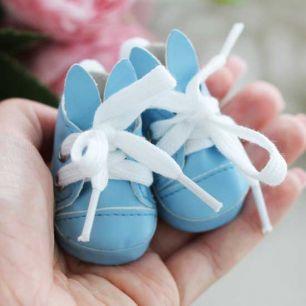Обувь для кукол 5 см - туфли голубые с ушками и помпоном