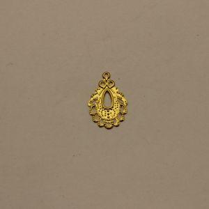 """Декоративный элемент """"филигрань"""" подвеска 19х13 мм, цвет золото (1уп = 50шт)"""