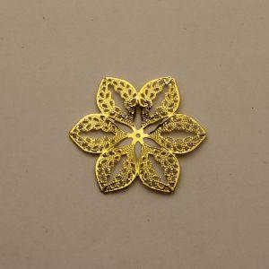 """Декоративный элемент """"филигрань"""" цветок 45 мм, цвет золото (1уп = 50шт)"""
