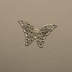 """`Декоративный элемент """"филигрань"""" бабочка 42*28 мм, цвет серебро"""