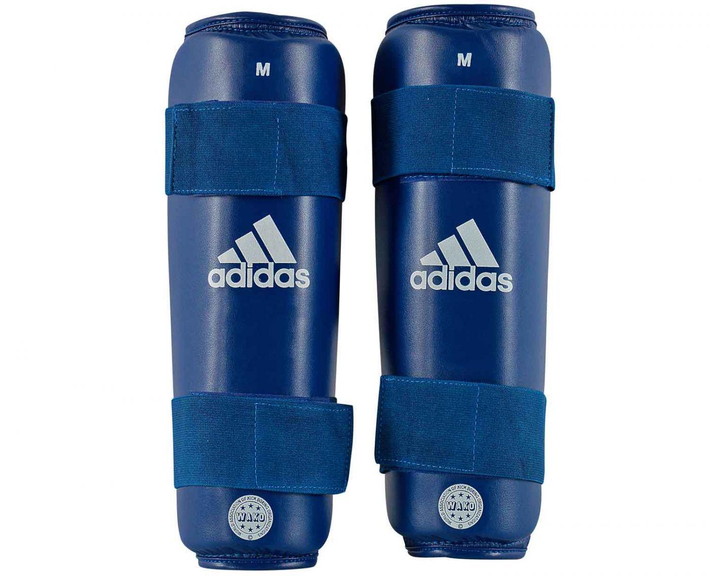 Защита голени Adidas WAKO Kickboxing Shin Guards синяя, размер L, артикул adiWAKOSG01