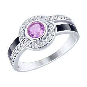 Кольцо из серебра с эмалью и аметистом и фианитами 92011497 SOKOLOV