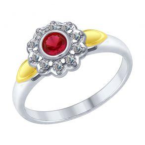 Кольцо из серебра с красным корундом (синт.) и фианитами 84010030 SOKOLOV