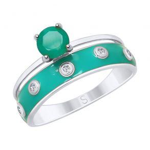 Кольцо из серебра с эмалью и агатом и фианитами 92011605 SOKOLOV