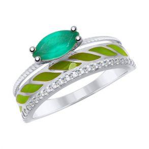 Кольцо из серебра с эмалью и агатом и фианитами 92011614 SOKOLOV