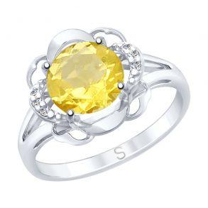 Кольцо из серебра с цитрином и фианитами 92011740 SOKOLOV