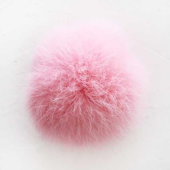 Меховой помпон Розовый, 7 см  (натуральный)