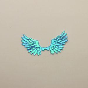 """Патч """"Крылья"""", 70*35 мм, цвет голубой (1уп = 25шт)"""