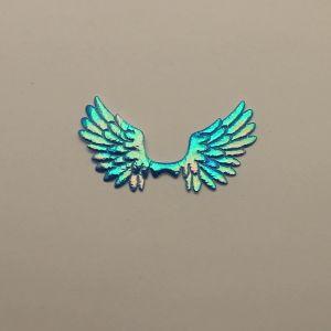 """Патч """"Крылья"""", 70*35 мм, цвет синий (1уп = 25шт)"""