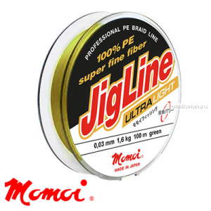 Леска плетеная Momoi JigLine Ultra Light Yellow 100 м / цвет: желтый